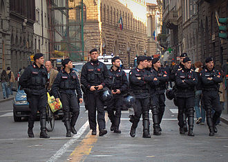 Gendarmerie - Members of Italy's gendarmerie, the Carabinieri, on public order duties in Florence