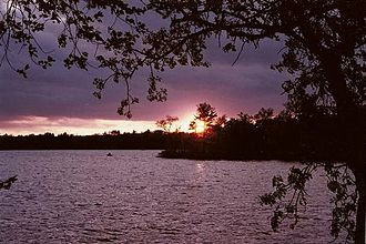 Kanabec County, Minnesota - Sunset over Fish Lake in Kanabec County