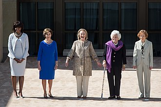 Barbara Bush - Barbara Bush (second-from-right) joins Michelle Obama, Laura Bush, Hillary Clinton, and Rosalynn Carter at the opening of the George W. Bush Presidential Center in Dallas, 2013