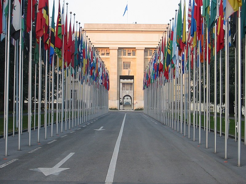 Flags at the UN building, Geneva (Yann)