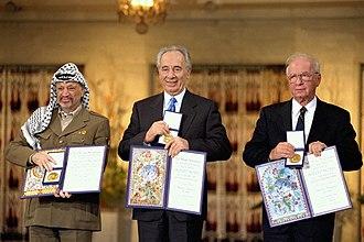 Oslo I Accord - Yitzhak Rabin, Shimon Peres and Yasser Arafat receiving the Nobel Peace Prize following the Oslo Accords