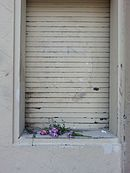 Flowers on a sill, downtown El Paso, 2016.