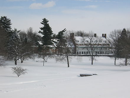 Forbes College in winter from the golf course Forbes College from College Rd West.jpg
