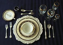 Service à la russe formal place setting showing glassware for a range of beverages & Tableware - Wikipedia