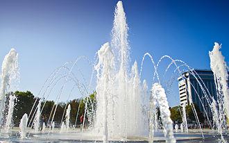 Splash pad - The Splash Fountain in Krasnodar, Russia. The largest splash fountain in Europe