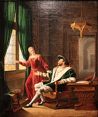 François Ier montre à Marguerite de Navarre, sa sœur, les vers qu'il vient d'écrire sur une vitre avec son diamant by Fleury François Richard