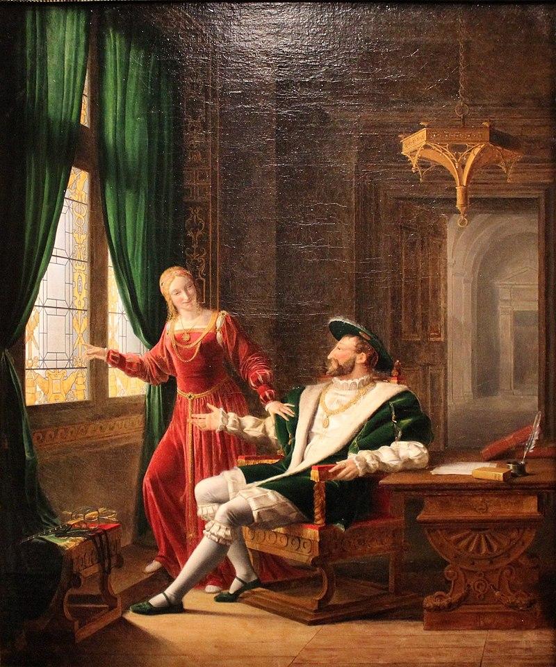 François Ier montre à Marguerite de Navarre, sa sœur, les vers qu'il vient d'écrire sur une vitre avec son diamant - Флери Франсуа Ришар - MBA Lyon 2014 (обрезано) .jpg