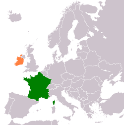 Map indicating locations of France and Ireland