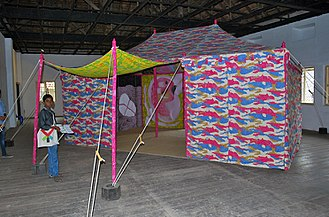 Francesco Clemente - Paper tent at the Kochi-Muziris Biennale in Kochi, in Kerala, India, 2014