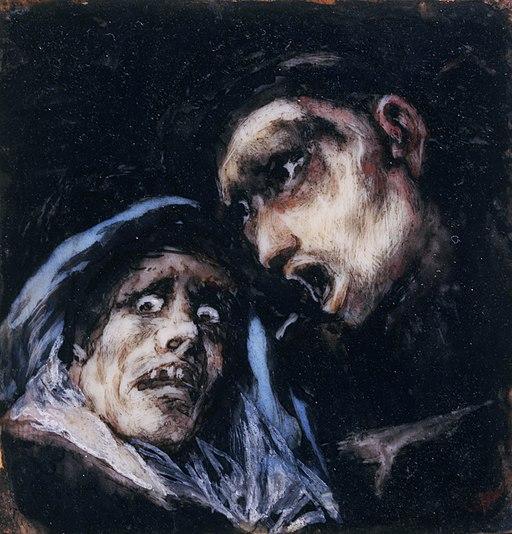 Francisco José de Goya y Lucientes - Monk Talking to an Old Woman - Google Art Project