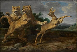 Two young lions chasing a roe