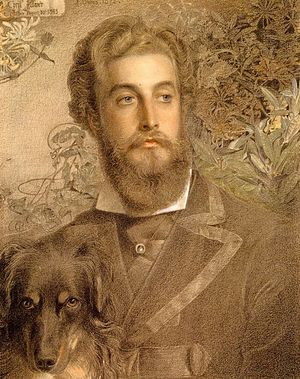 Cyril Flower, 1st Baron Battersea - Portrait of Cyril Flower (1872), by Frederick Sandys.