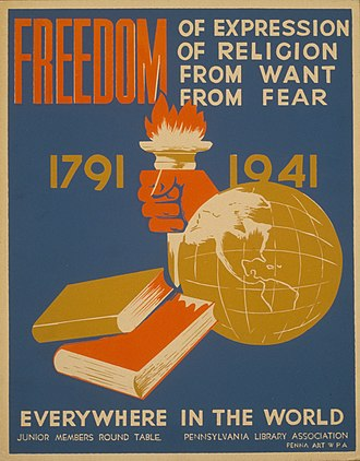 Four Freedoms (Norman Rockwell) - Poster promoting F D R's Four Freedoms (1941)