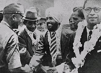 Indian National Army - Major Iwaichi Fujiwara greets Mohan Singh, leader of the First Indian National Army. Circa April 1942.