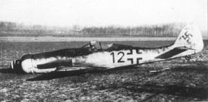 Jagdgeschwader 54 - A Focke-Wulf Fw 190D-9 of 10./JG54 (Leutnant Theo Nibel), downed by a partridge which flew into the radiator near Brussels on 1 January 1945.