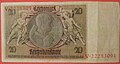 GERMANY 1929 OBSOLETE 20 REICHSMARK PAPER BILL USED WITH TWO INK STAMPS FOR USE IN A JEWISH GHETTO OR CONCENTRATION CAMP side B - Flickr - woody1778a.jpg