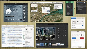 An edited image of GNOME Shell that shows some of its aspects with some GNOME applications (version 3.38, released in September 2020)