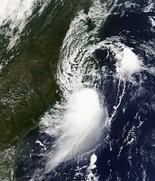 Satellite image of tropical storm near North Carolina.