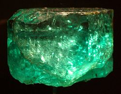 The Gachala Emerald is one of the largest gem emeralds in the world at 858 carats (172 g). This stone was found in 1967 at La Vega de San Juan mine in Gachalá, Colombia. It is housed at the National Museum of Natural History of the Smithsonian Institution in Washington DC.