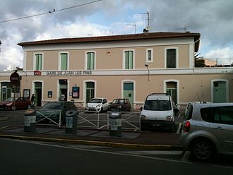 Juan-les-Pins - Exterior of Juan-les-Pins train station.