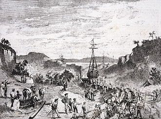 Giuseppe Garibaldi - Garibaldi and his men carrying boats from Los Patos lagoon to Tramandahy lake during the Rio Grande do Sul War