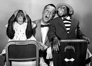 Garry Moore - Moore with his guests the Marquis Chimps in 1959