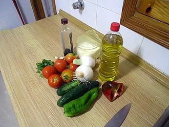 Mediterranean diet - Image: Gazpacho ingredients