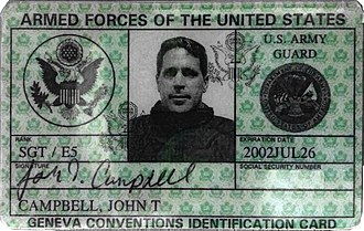 United States Uniformed Services Privilege and Identification Card - A U.S. Army Guard Geneva Conventions Identification Card from 2001.
