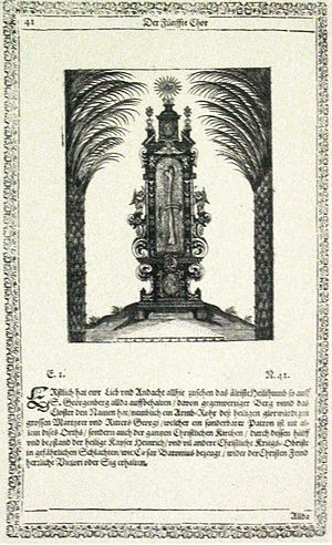 "St. Georgenberg-Fiecht Abbey - ""Athos Georgianus"": engraving of the humerus reliquary of Saint George"