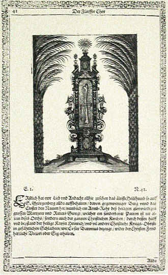 """St. Georgenberg-Fiecht Abbey - """"Athos Georgianus"""": engraving of the humerus reliquary of Saint George"""