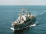 German replenishment ship Coburg (A1412) front view 1990.jpg