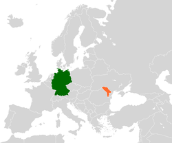 Map indicating locations of Germany and Moldova