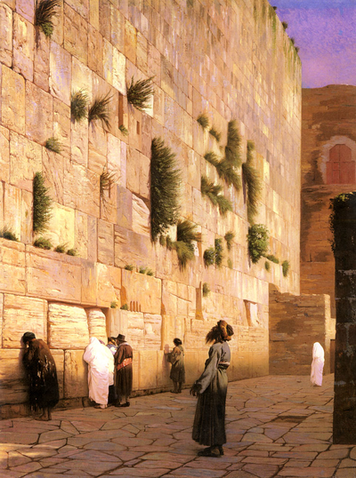 Jews at the Wailing Wall in Jerusalem during the Ottoman period, 1867 Gerome Western Wall.png