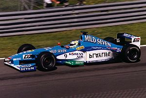 Benetton Formula - Giancarlo Fisichella driving for Benetton at the 1999 Canadian Grand Prix.