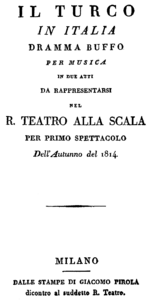 Gioachino Rossini - Il turco in Italia - titlepage of the libretto - Milan 1814.png