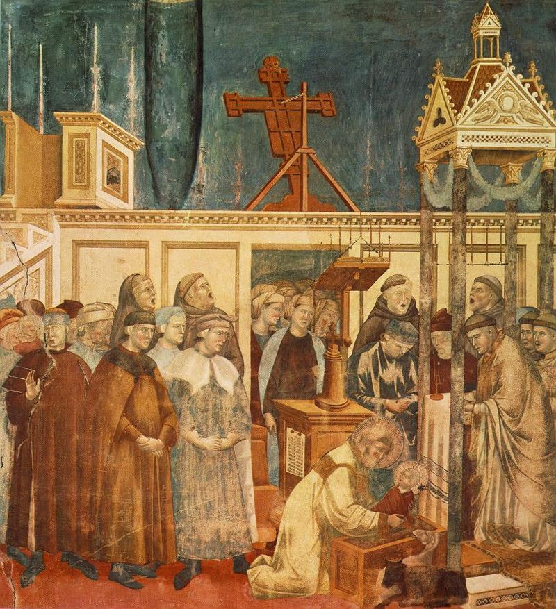Institution of the Crib at Greccio. dans immagini sacre 800px-Giotto_-_Legend_of_St_Francis_-_-13-_-_Institution_of_the_Crib_at_Greccio