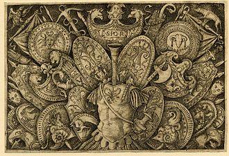 Giovanni Antonio da Brescia - Ornament print of armour