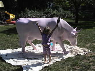 Gladys the Swiss Dairy Cow - Gladys in pink