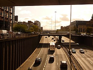 Bruce Report - The M8 Motorway is the most visible legacy of the Bruce Report in the centre of Glasgow. It forms two sides of an incomplete inner ring road around the city centre