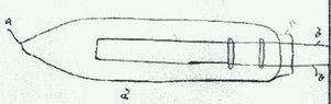 Heinrich Göbel - Drawing of Göbel lamp No. 1. Source: Affidavit Henry Goebel January 21, 1893