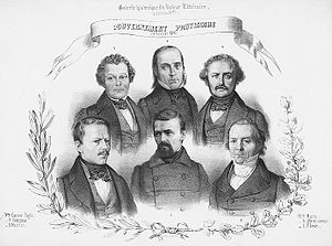 French Provisional Government of 1848 - Members of the Provisional Government. Lets to right, top:Garnier-Pagès, Crémieux, Marrast; bottom: Flocon, Martin, Saint-Georges
