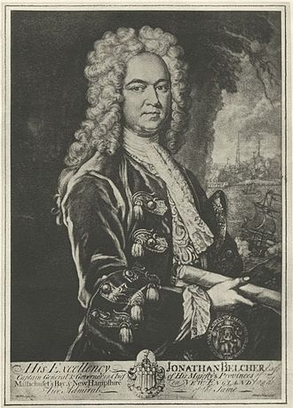 William Shirley - Engraved portrait of Jonathan Belcher