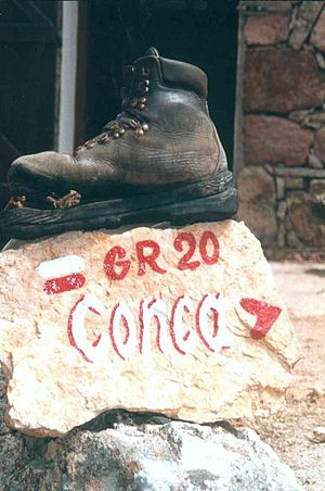 GR 20 - A hiking boot, found just before the last refuge before arriving at Conca – the southern end of the trail.