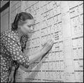 Granada Relocation Center, Amache, Colorado. Family counsellor is shown examining wall chart. Wall . . . - NARA - 539929.tif