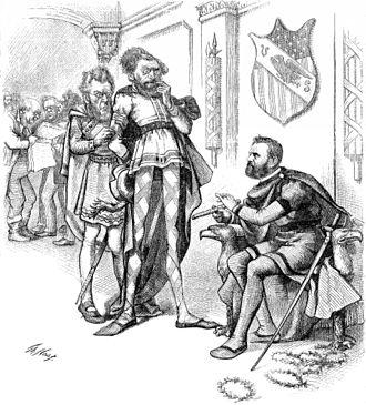 Thomas Tipton - Political cartoon by Thomas Nast featuring Tipton, Carl Schurz and Ulysses S. Grant