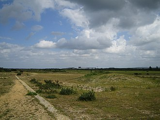 RAF Greenham Common - Greenham Common in 2005. The hangars can be seen in the distance.