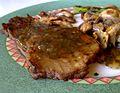 Grilled Seitan with chimichurri sauce - Seitán a la plancha con chimichurri (6218250832).jpg
