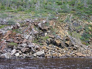 Mohorovičić discontinuity - Ordovician ophiolite in Gros Morne National Park, Newfoundland. This rock which formed the Ordovician Moho is exposed on the surface.