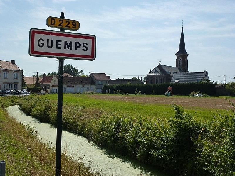 Guemps (Pas-de-Calais) city limit sign