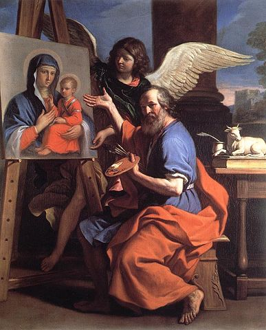 https://upload.wikimedia.org/wikipedia/commons/thumb/9/9a/Guercino_-_St_Luke_Displaying_a_Painting_of_the_Virgin_-_WGA10948.jpg/387px-Guercino_-_St_Luke_Displaying_a_Painting_of_the_Virgin_-_WGA10948.jpg
